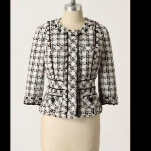 Anthropologie Elevenses textured tweed jacket